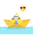 cute girl relaxing in a paper boat summer vector image vector image