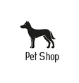 Cute pet shop logo with dog vector image vector image
