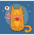 Cute red cat on blue vector image