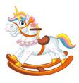 cute riding rocking horse cartoon vector image
