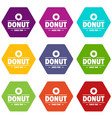 donut icons set 9 vector image