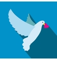 Dove with heart flat icon vector image vector image