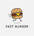 fast burger logo running burger on background vector image