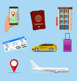 flat set icons of hotel search and booking online vector image vector image