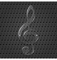 Glass treble clef on metal texture background vector image