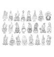 gnomes bundle collection on santa hat vector image