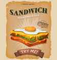 grunge and vintage sandwich with fried egg poster vector image