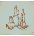 Hand drawn Olive Oil in Glass Bottles Still life vector image vector image