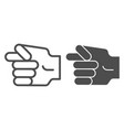 hand fig sign line and glyph icon hand gesture vector image vector image