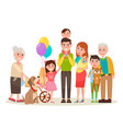 happy extended family photo cartoon vector image vector image
