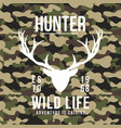 hunting style t-shirt design with deer antlers on vector image vector image