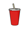 isolated of disposable red soda cup vector image vector image
