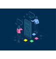 isometric user support service or call center in vector image