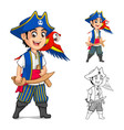 Kid Pirate Cartoon Character vector image