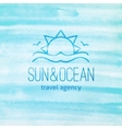 logo with sun and waves vector image vector image
