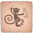 Monkey Chinese Zodiac Sign Horoscope Vintage Card vector image vector image