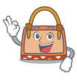 okay hand bag character cartoon vector image vector image
