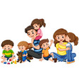 parents with five children playing vector image vector image