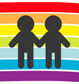 rainbow flag backdrop lgbt gay symbol two boy man vector image vector image