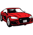 red sportscar vehicle silhouette vector image vector image