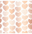 rose golden foil hearts seamless pattern vector image