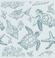 seamless pattern with shells fish corals turtle vector image vector image