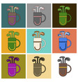 set of icons in flat design bag with clubs vector image vector image