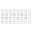 shopping bag simple black line icons set vector image