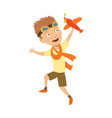 small boy in pilot costume dreaming piloting vector image vector image