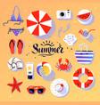 summertime top view set vector image vector image