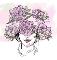 the head of girl with flowers wreath warm colors vector image
