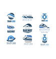 train logo original design set modern railway vector image vector image