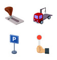 transmission handle tow truck parking sign stop vector image vector image