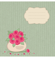 Vintage background with basket of flowers vector image