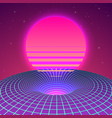 warp space - black hole in neon colors 80s vector image vector image