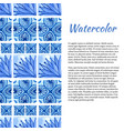 watercolor background ornament border in blue vector image vector image