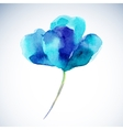 Watercolor of a a blue flower on a