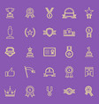winner line color icons on purple background vector image vector image