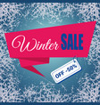 winter sale text ribbon on ice frosted background vector image vector image