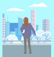 woman walking in urban park alone in cold weather vector image vector image