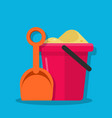 plastic bucket and shovel children set for vector image