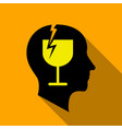 alcoholic brain icon flat style vector image