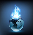 blue flame and planet earth vector image vector image