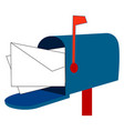 blue mail box on white background vector image vector image