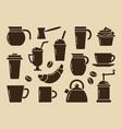 brown coffee set vector image