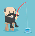 business concept cartoon fishing in the empty vector image