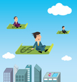 Business men flying vector image