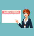 business woman pointing on message board vector image
