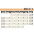 calendar planner 2019 monthly planner october vector image