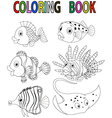 Cartoon fish coloring book vector image